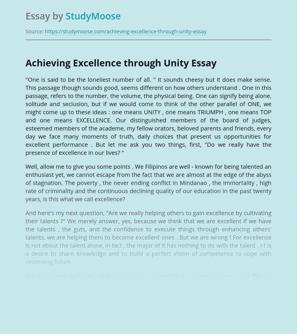Achieving Excellence through Unity