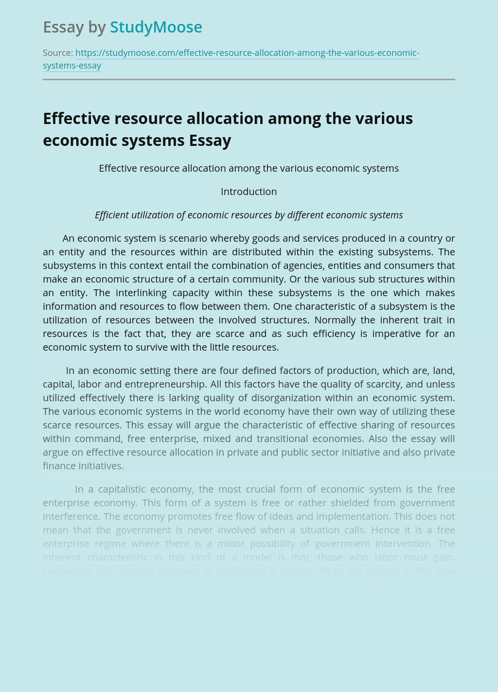 Effective resource allocation among the various economic systems