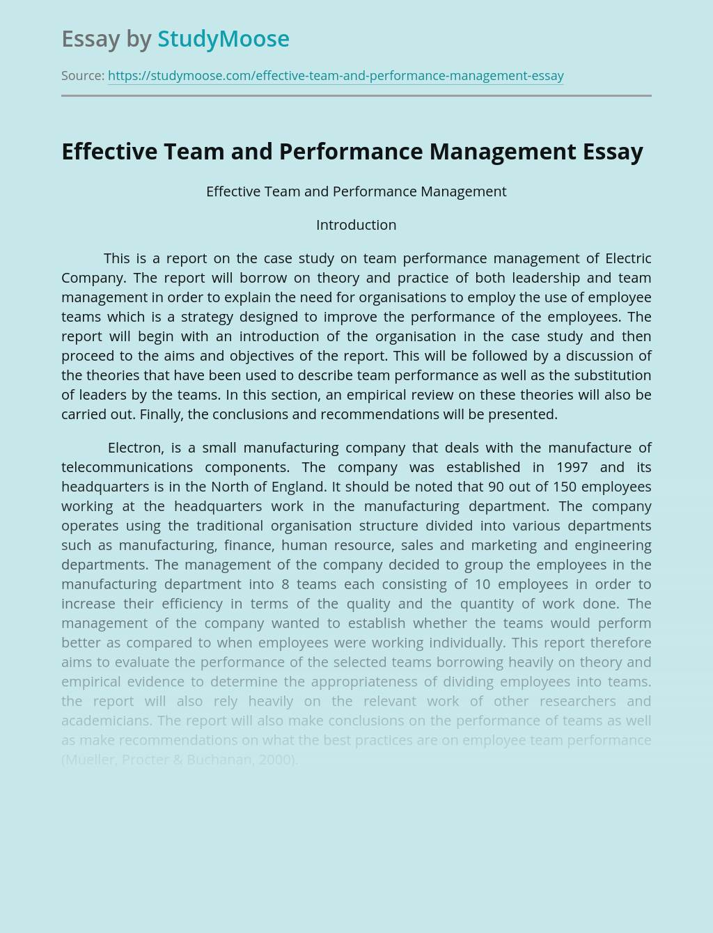 Effective Team and Performance Management
