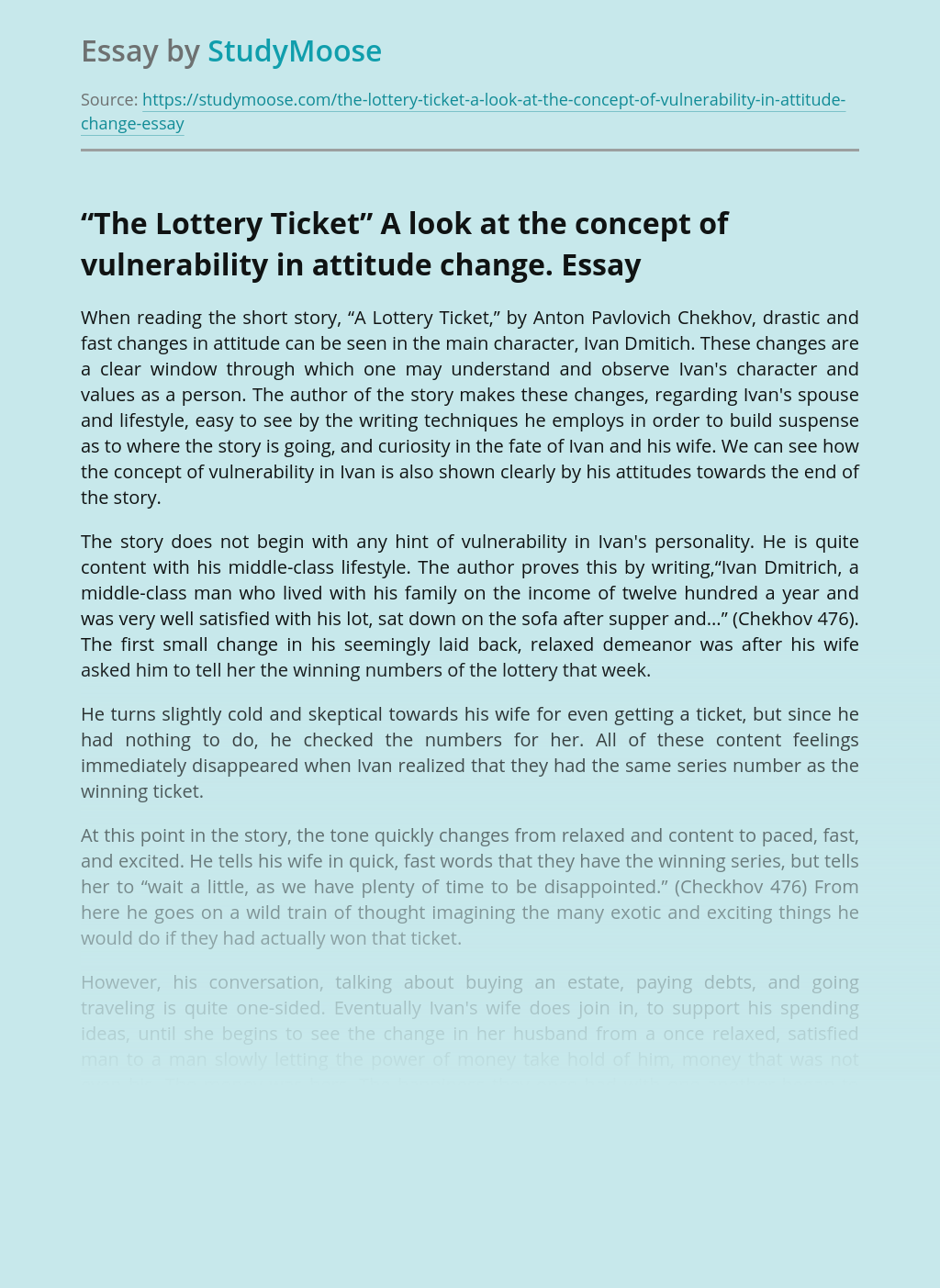 """""""The Lottery Ticket"""" A look at the concept of vulnerability in attitude change."""