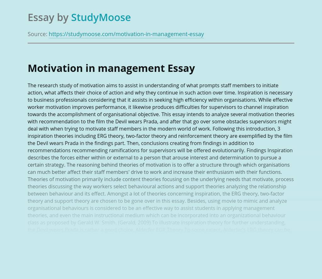Motivation in management