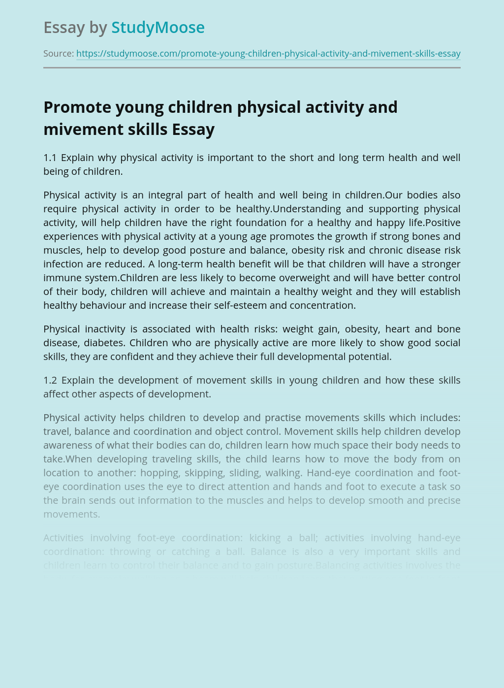 Promote young children physical activity and mivement skills