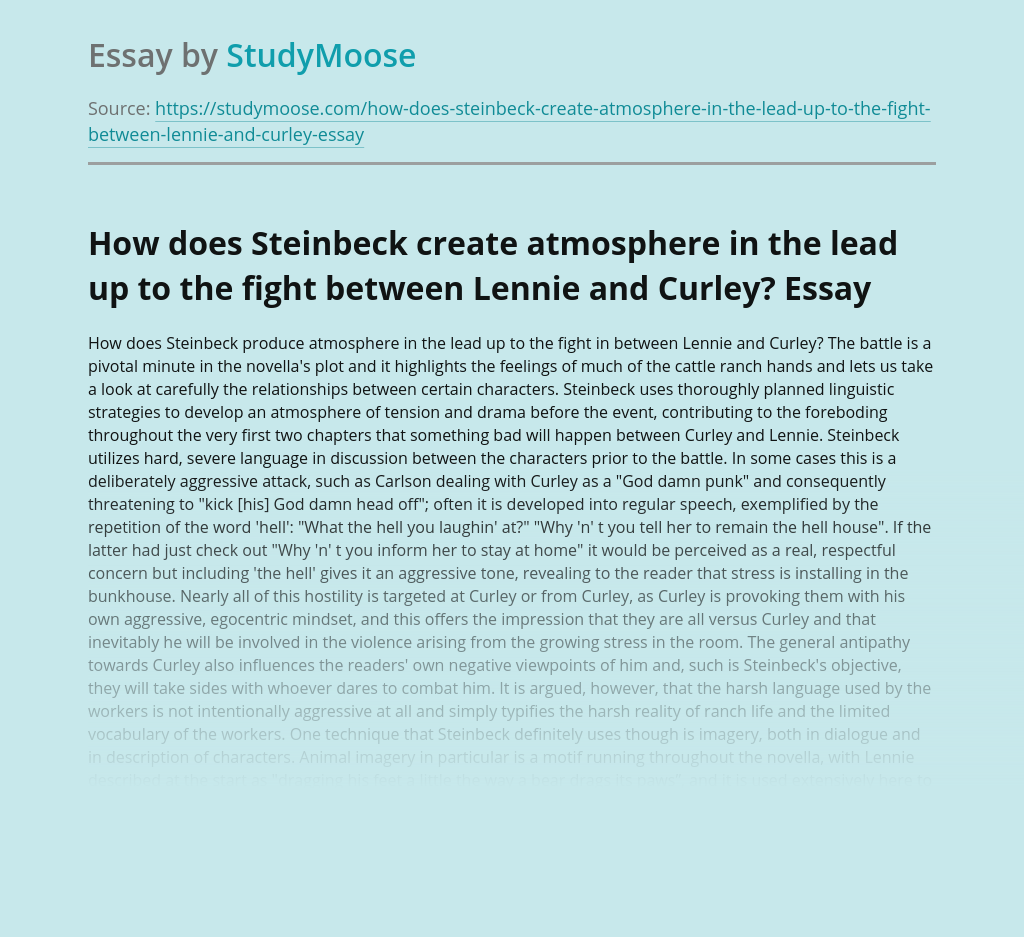 How does Steinbeck create atmosphere in the lead up to the fight between Lennie and Curley?