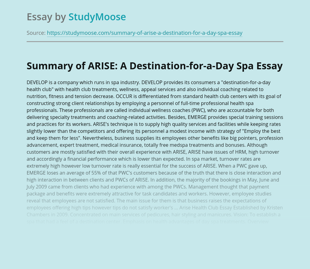 Summary of ARISE: A Destination-for-a-Day Spa
