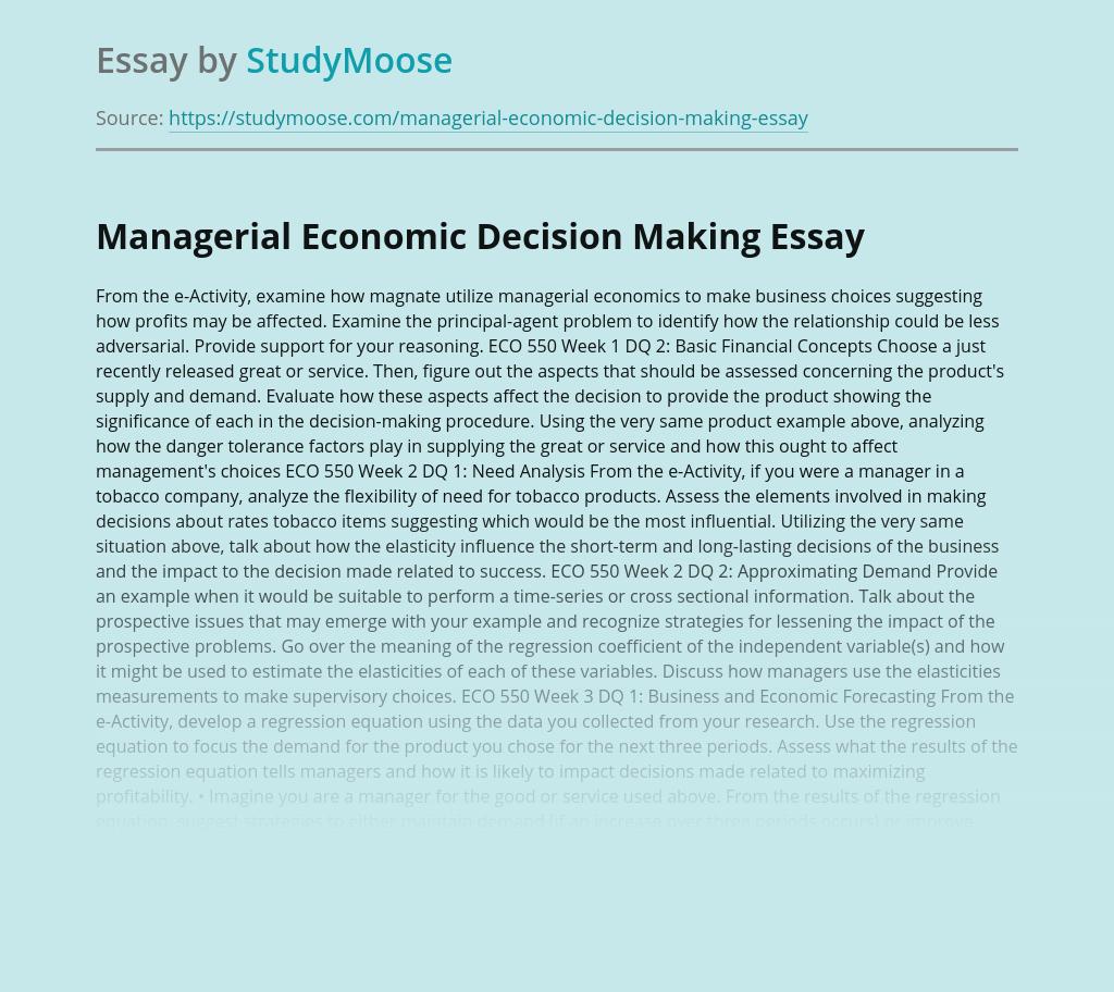 Managerial Economic Decision Making