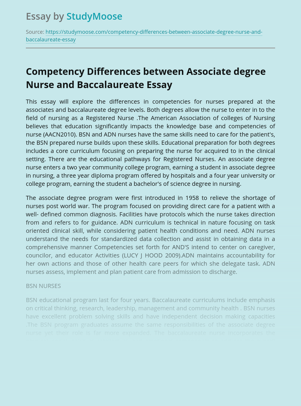 Competency Differences Between Associate Degree Nurse and Baccalaureate
