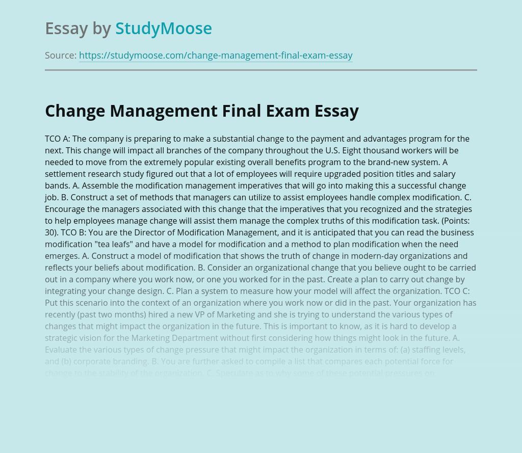 Change Management Final Exam