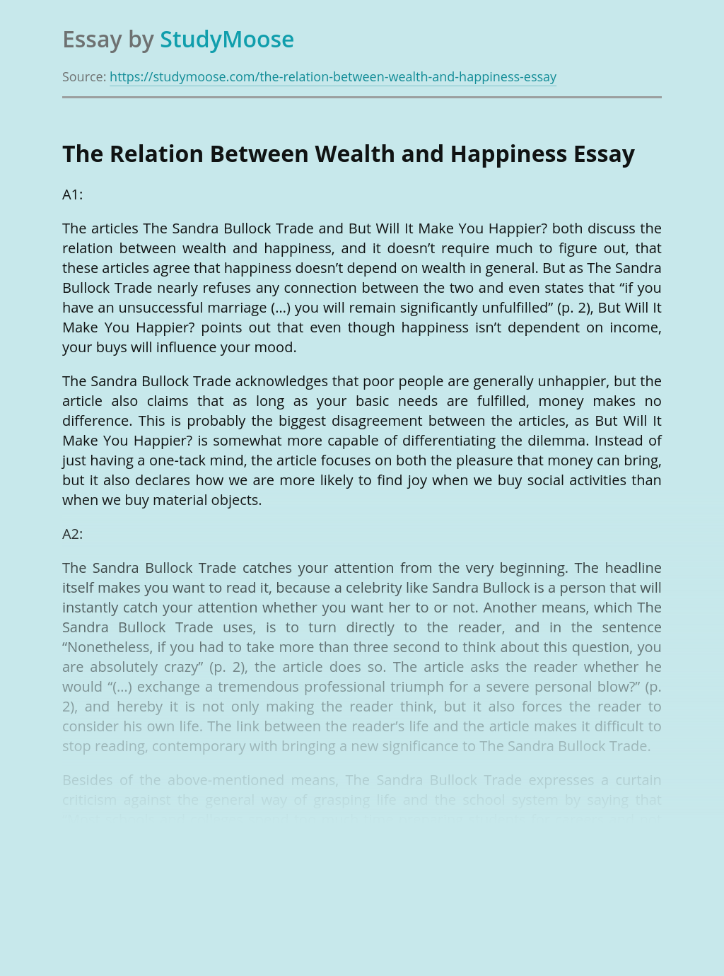 The Relation Between Wealth and Happiness