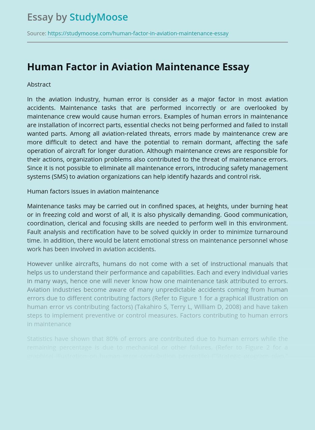 Human Factor in Aviation Maintenance