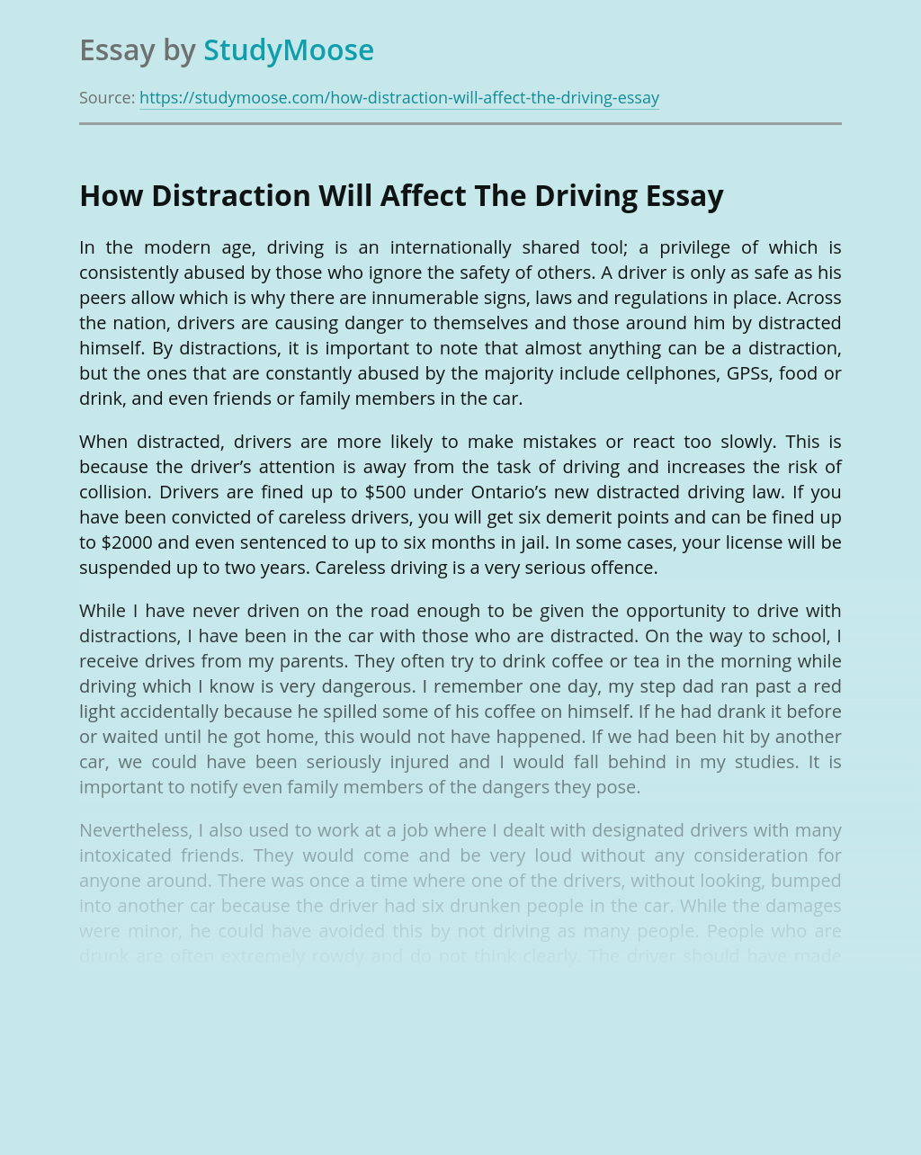 How Distraction Will Affect The Driving