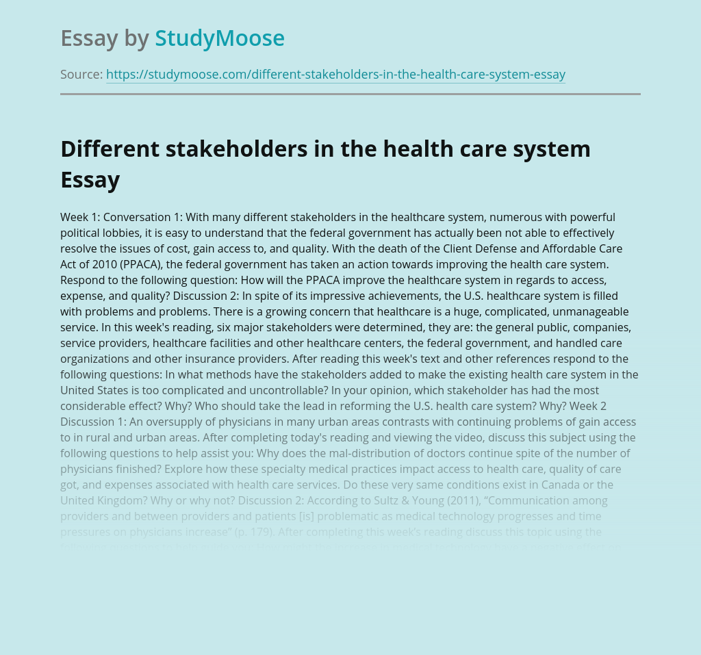 Different stakeholders in the health care system