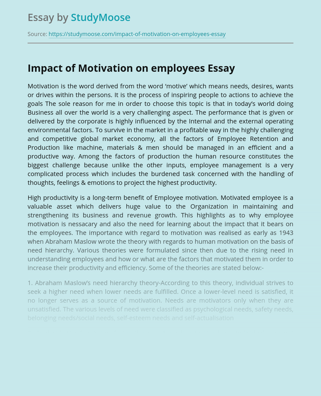 Impact of Motivation on employees