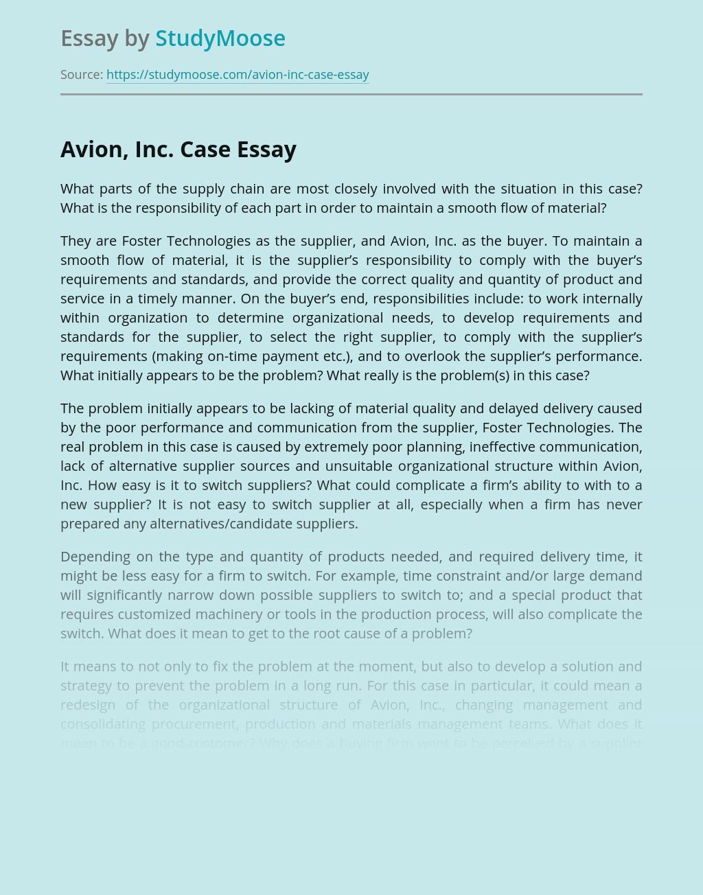 Avion, Inc. Case