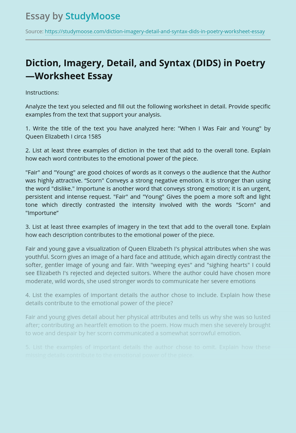 ?Diction, Imagery, Detail, and Syntax (DIDS) in Poetry—Worksheet