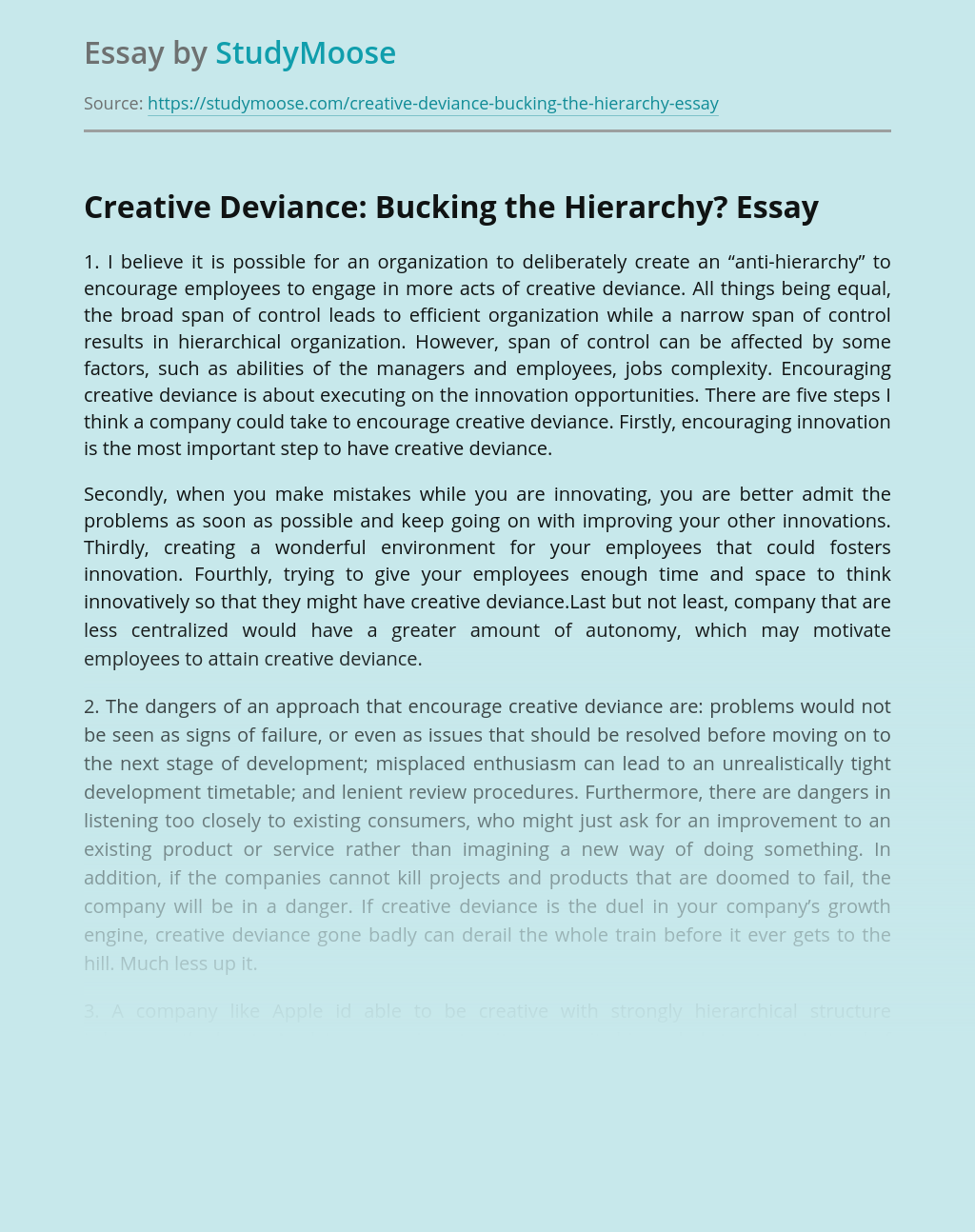Creative Deviance: Bucking the Hierarchy?