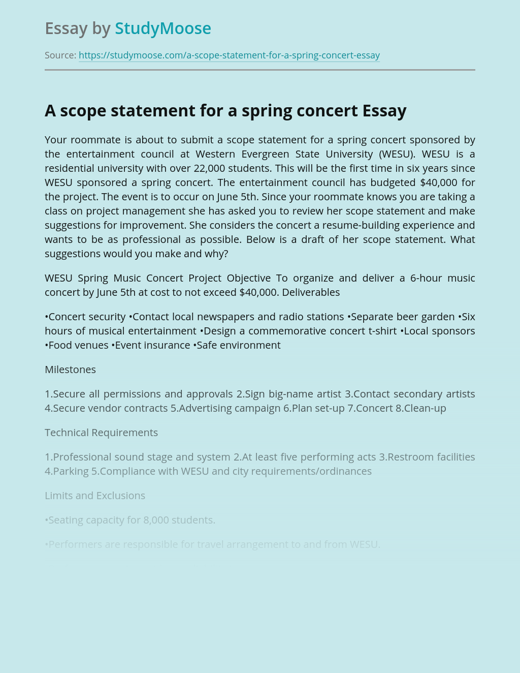 A scope statement for a spring concert