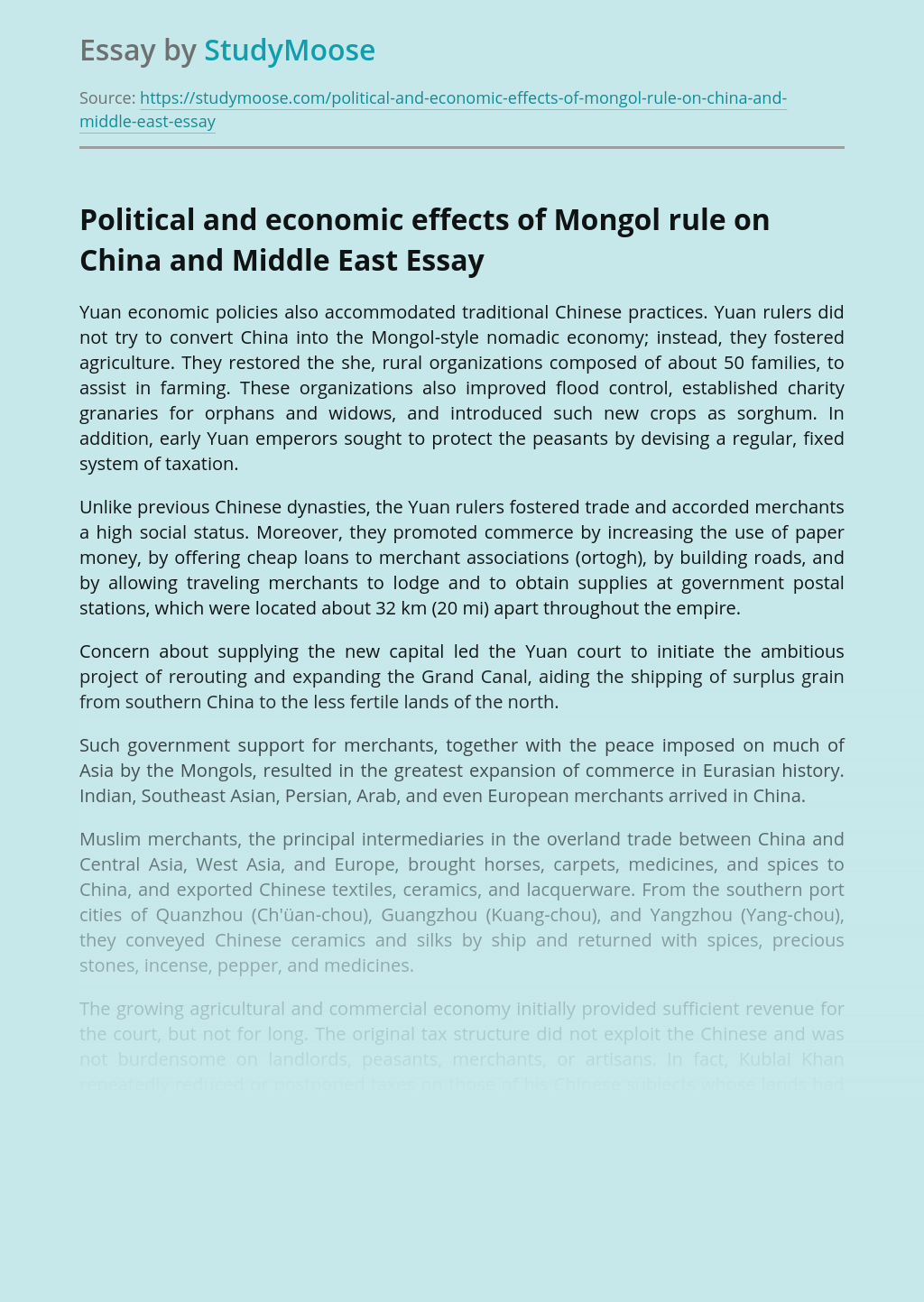 Political and economic effects of Mongol rule on China and Middle East