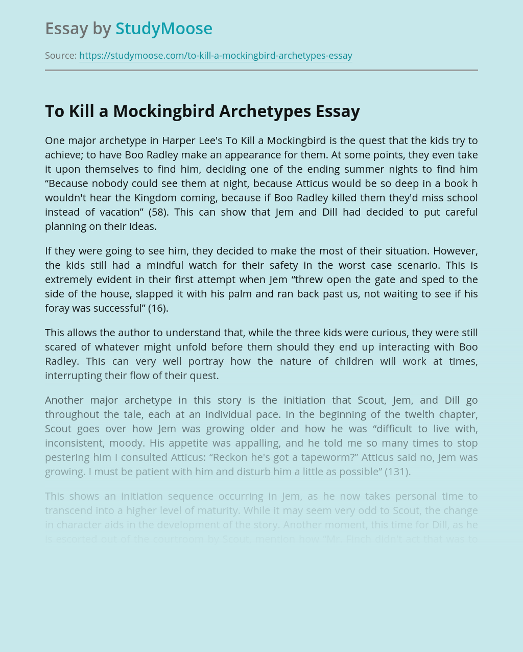 To Kill a Mockingbird Archetypes