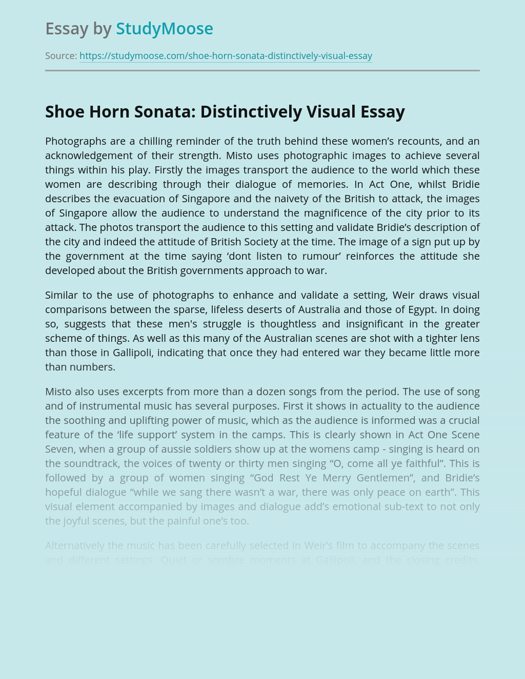 Shoe Horn Sonata: Distinctively Visual