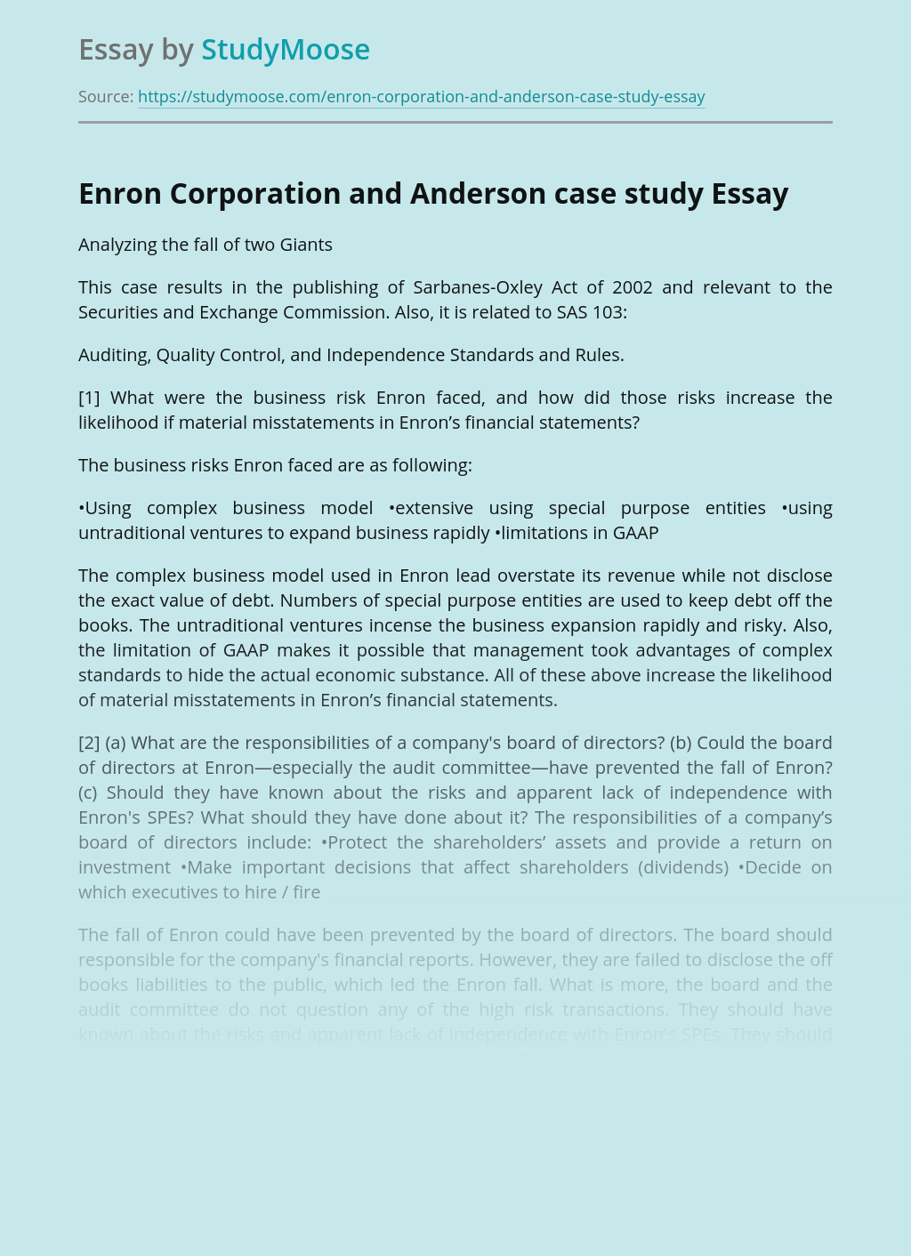 Enron Corporation and Anderson case study