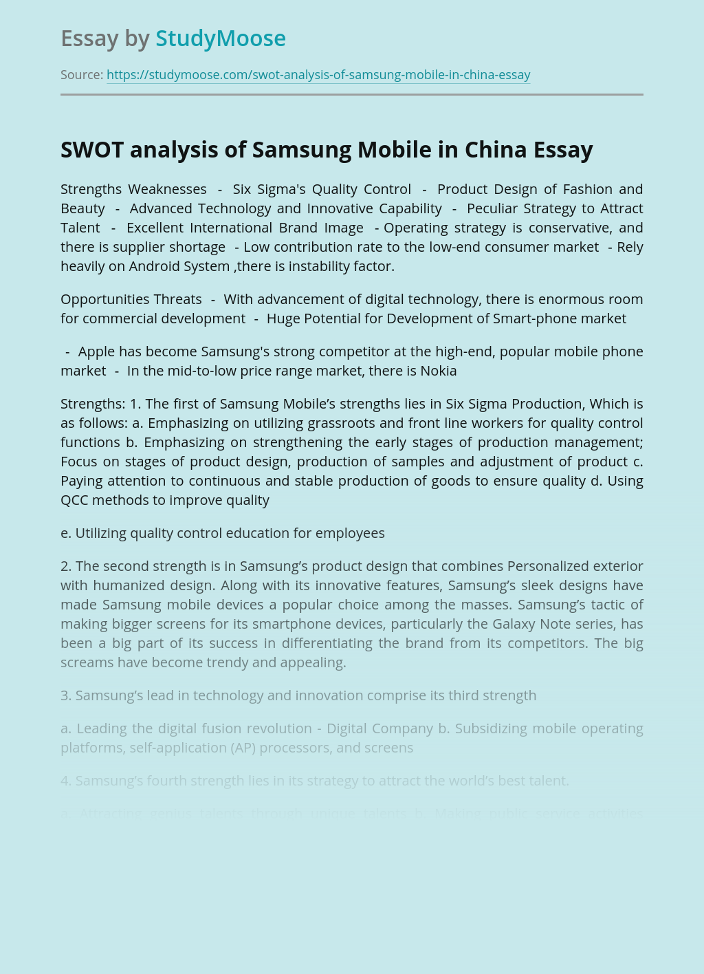 ?SWOT analysis of Samsung Mobile in China