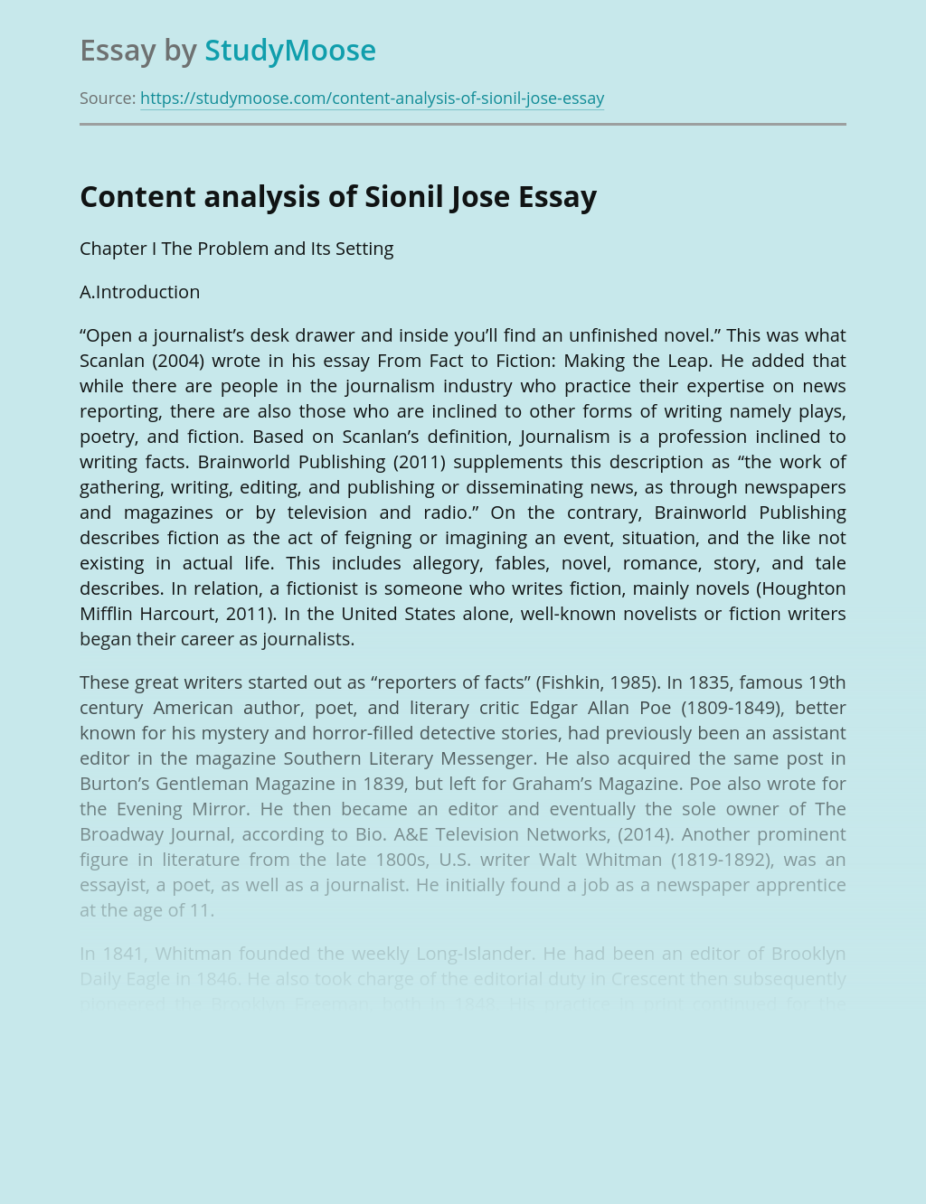 Content Analysis of Sionil Jose Novel
