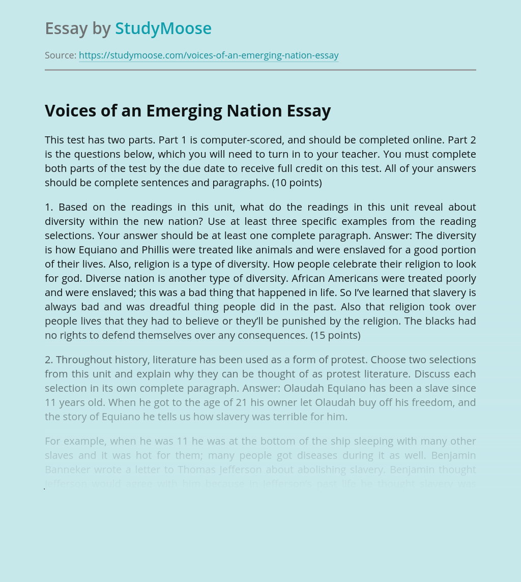 Voices of an Emerging Nation