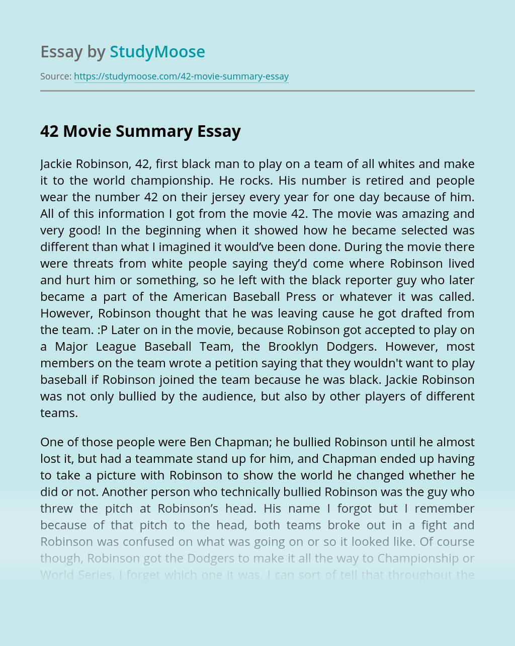 42 Movie Summary