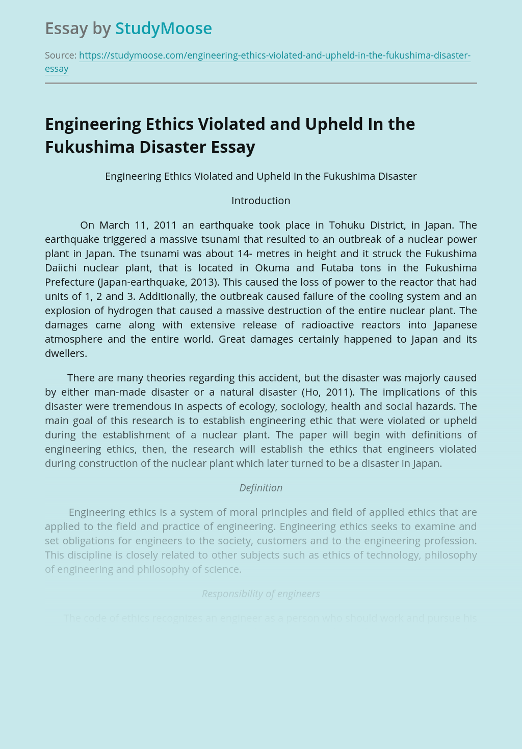 Engineering Ethics Violated and Upheld In the Fukushima Disaster