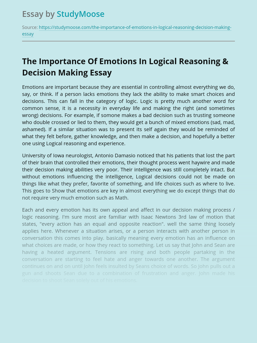 The Importance Of Emotions In Logical Reasoning & Decision Making