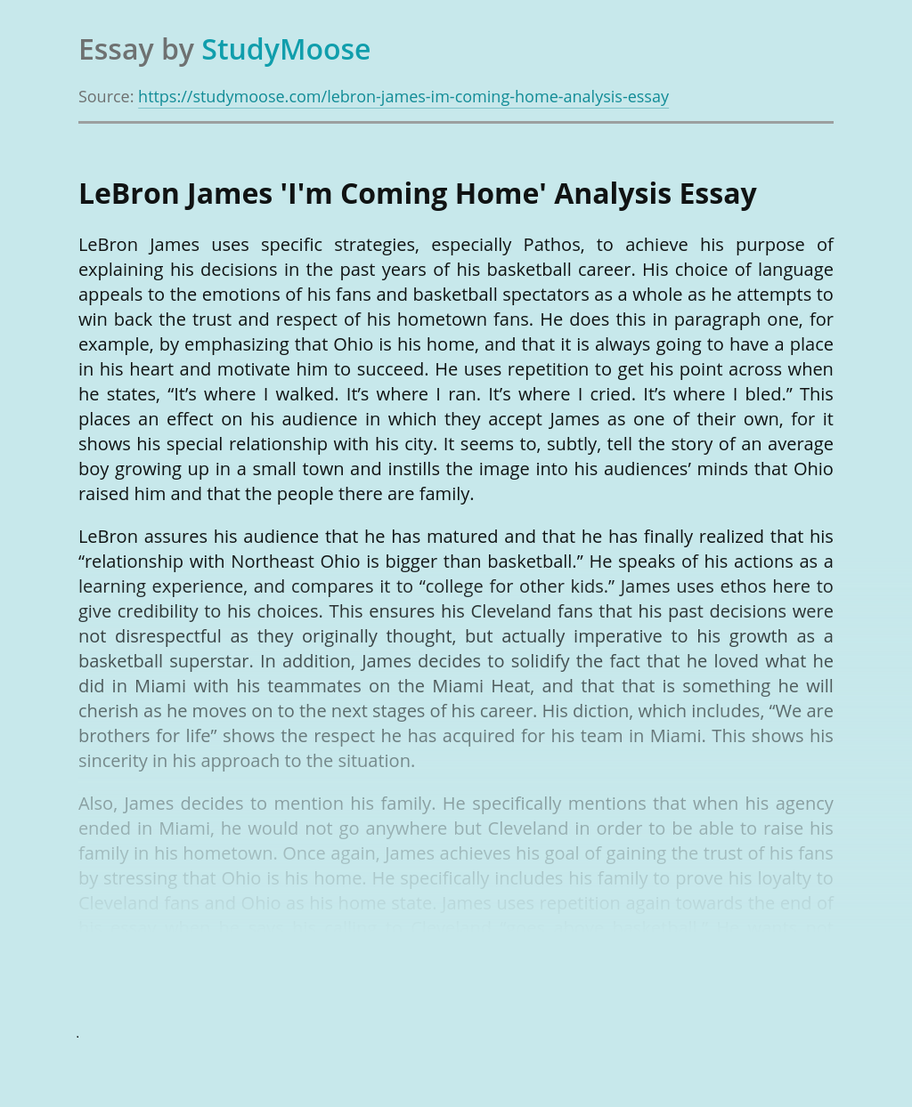 LeBron James 'I'm Coming Home' Analysis
