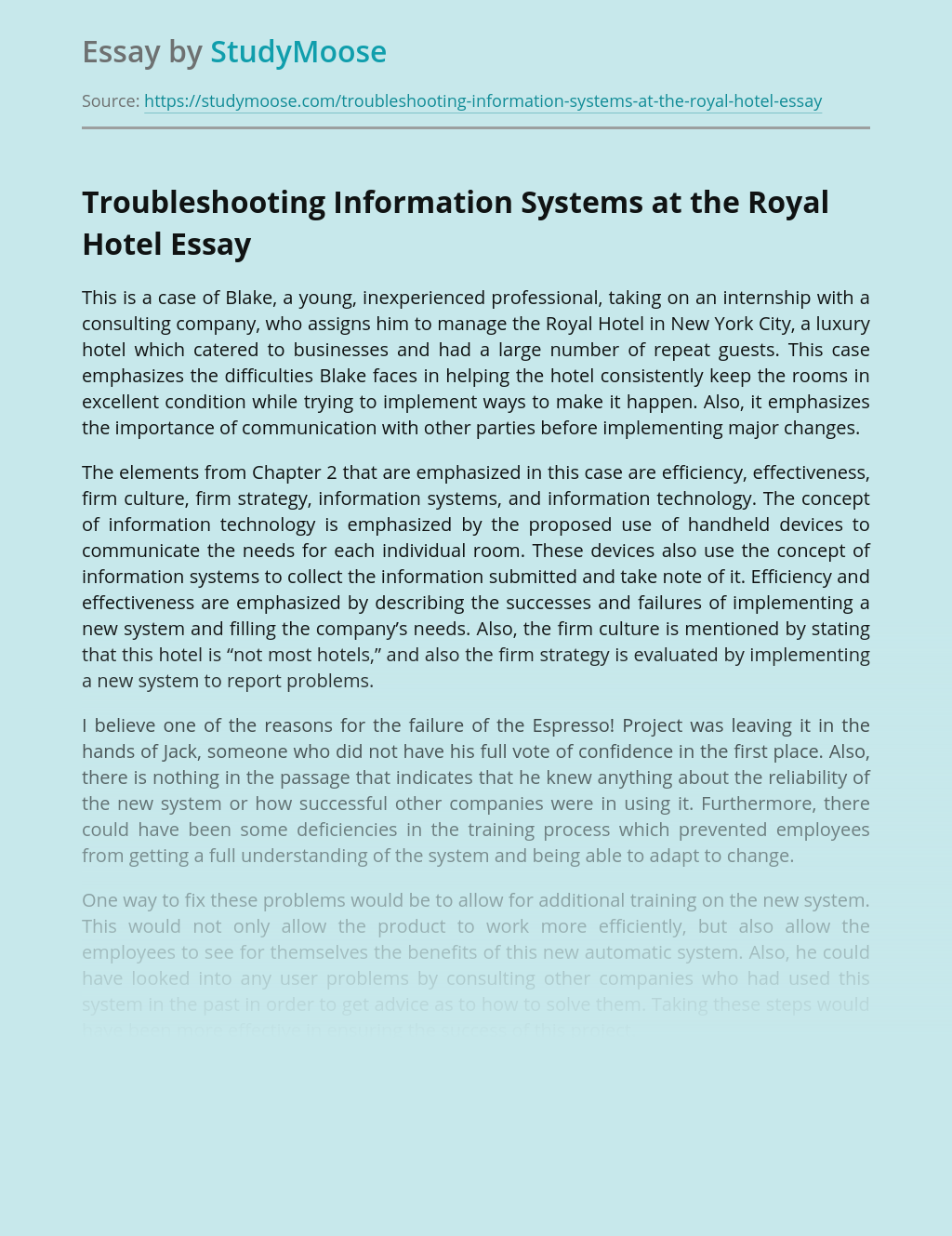 Troubleshooting Information Systems at the Royal Hotel