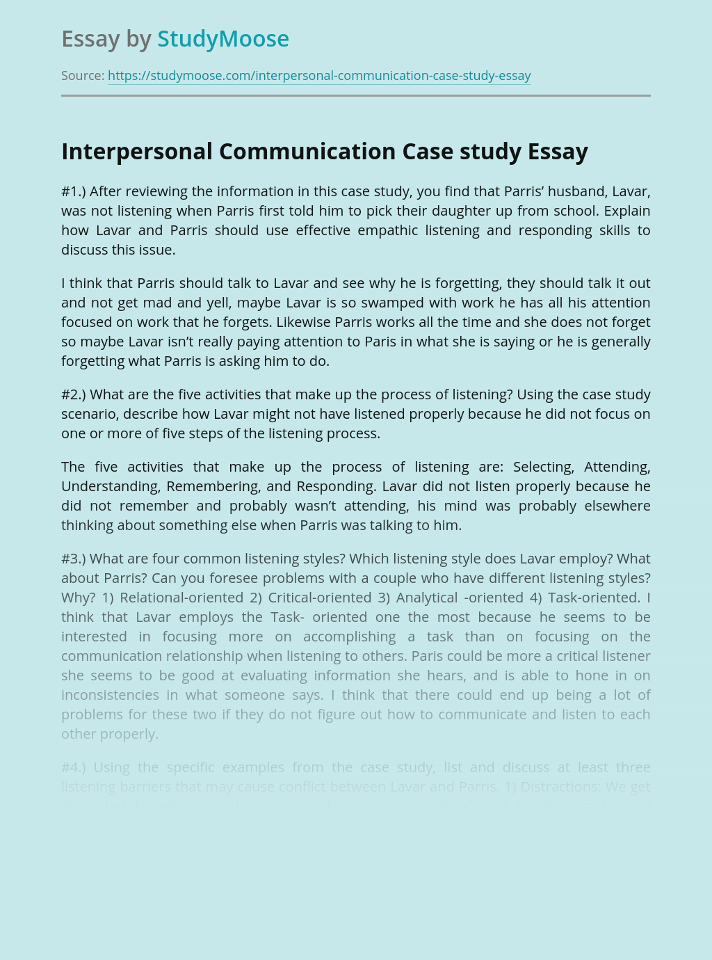 Interpersonal Communication Case study