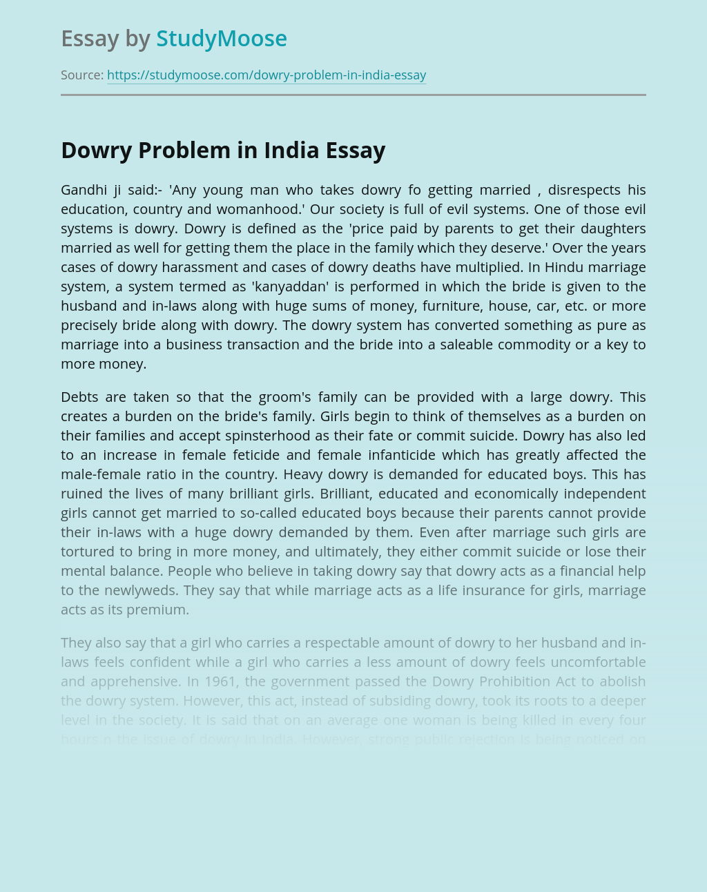 ?Dowry Problem in India