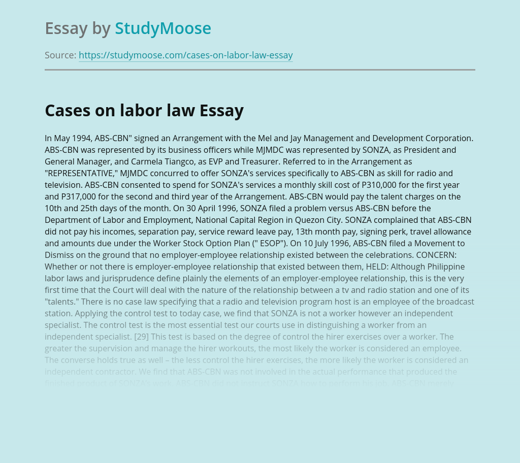 Cases on labor law