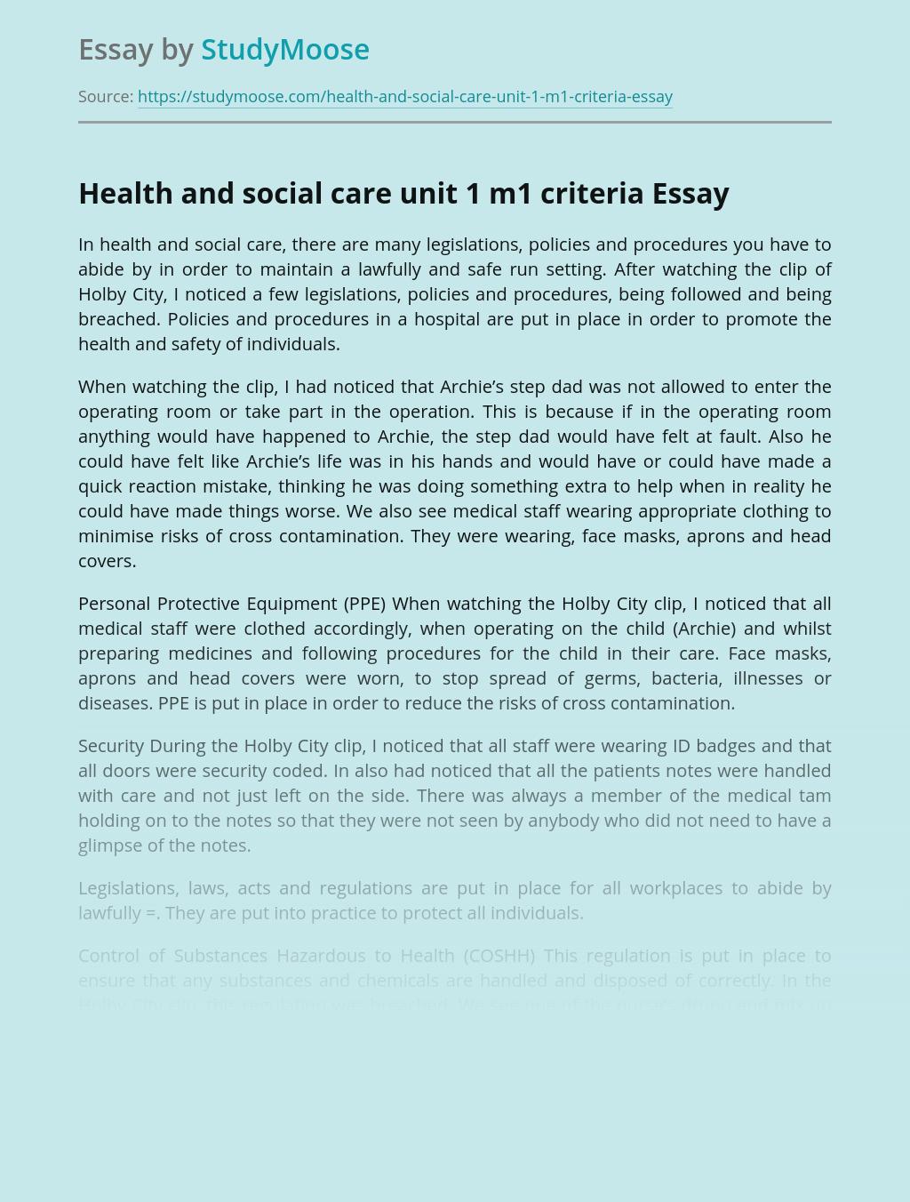 Health and social care unit 1 m1 criteria