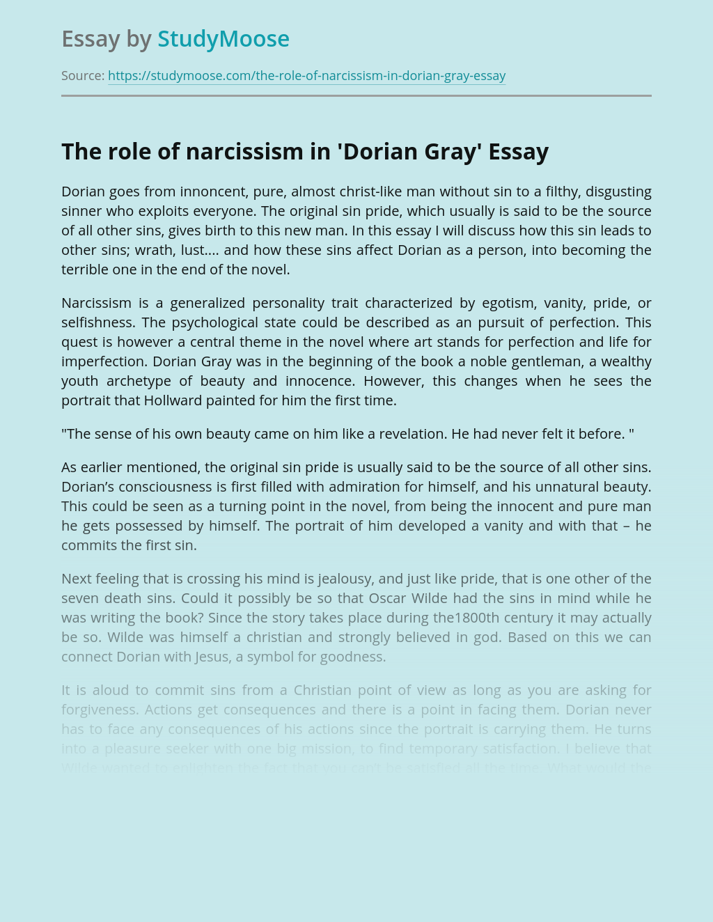The Role of Narcissism in 'Dorian Gray'