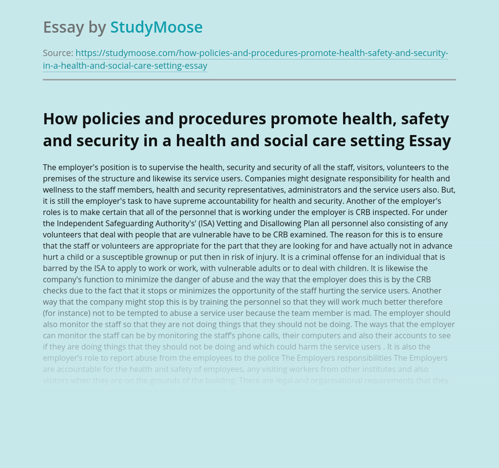 How policies and procedures promote health, safety and security in a health and social care setting
