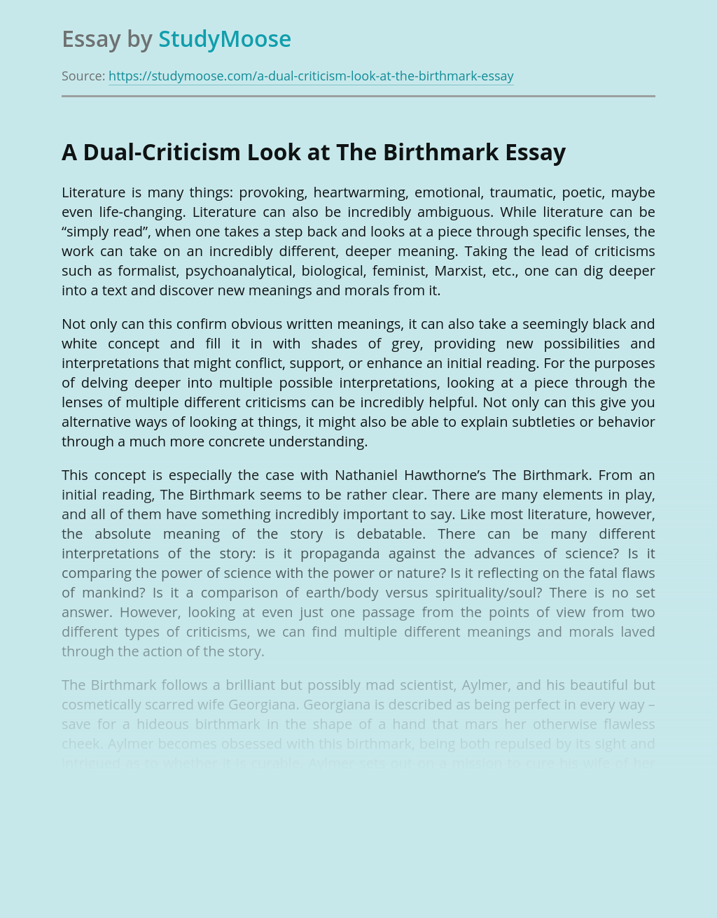 """A Dual-Criticism Look at """"The Birthmark"""" by Nathaniel Hawthorne"""
