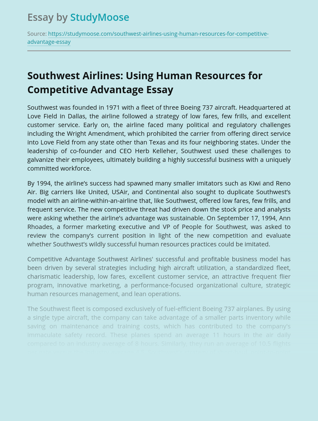 Southwest Airlines: Using Human Resources for Competitive Advantage