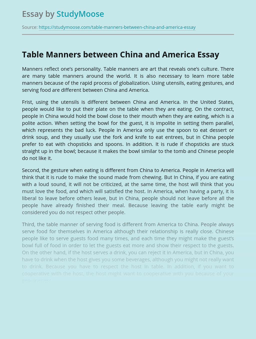 Table Manners between China and America