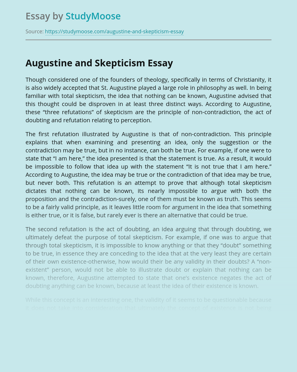 Augustine's Philosophical Views Against Skepticism