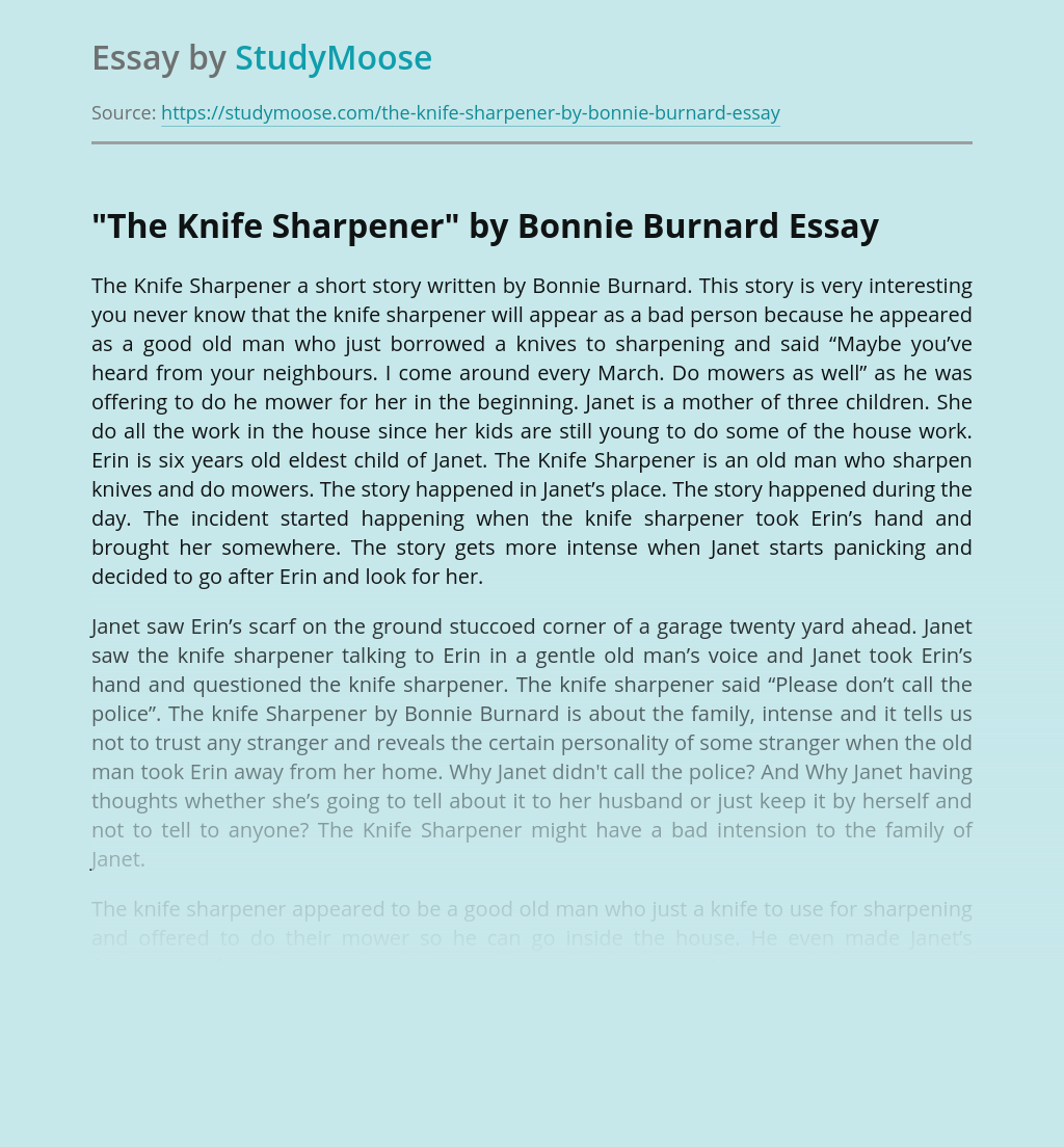"?""The Knife Sharpener"" by Bonnie Burnard"