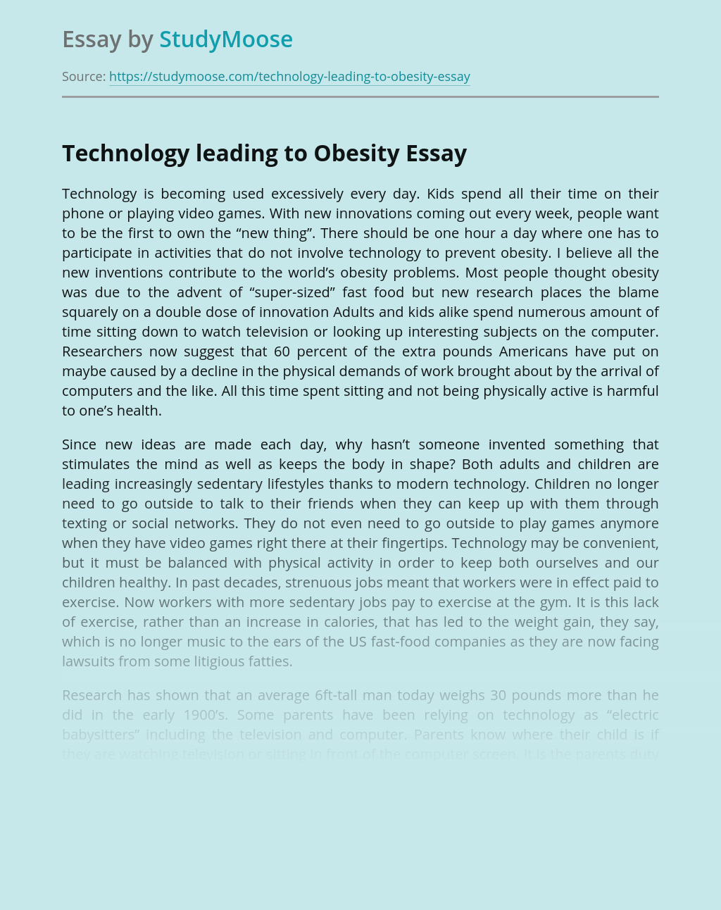 ?Technology leading to Obesity