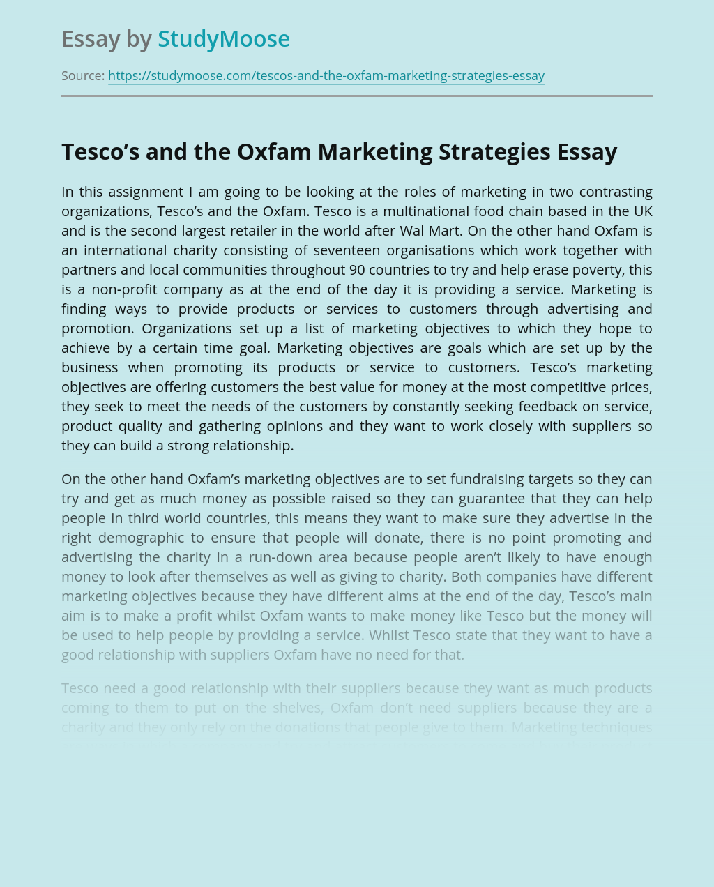 Tesco's and the Oxfam Marketing Strategies