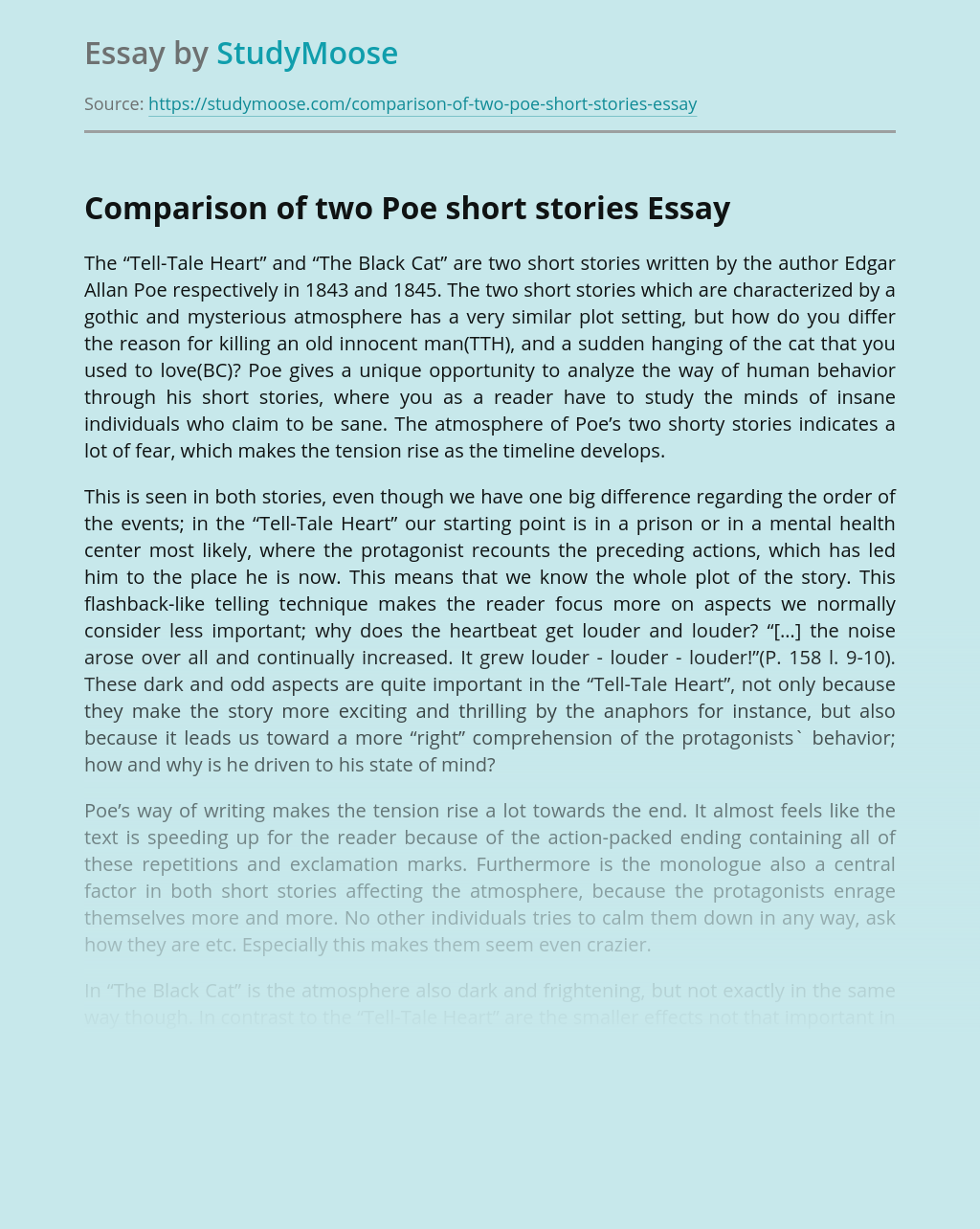Comparison of Two Poe's Short Stories