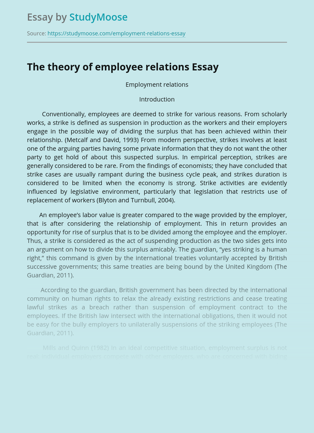 Theories on Employee Relations