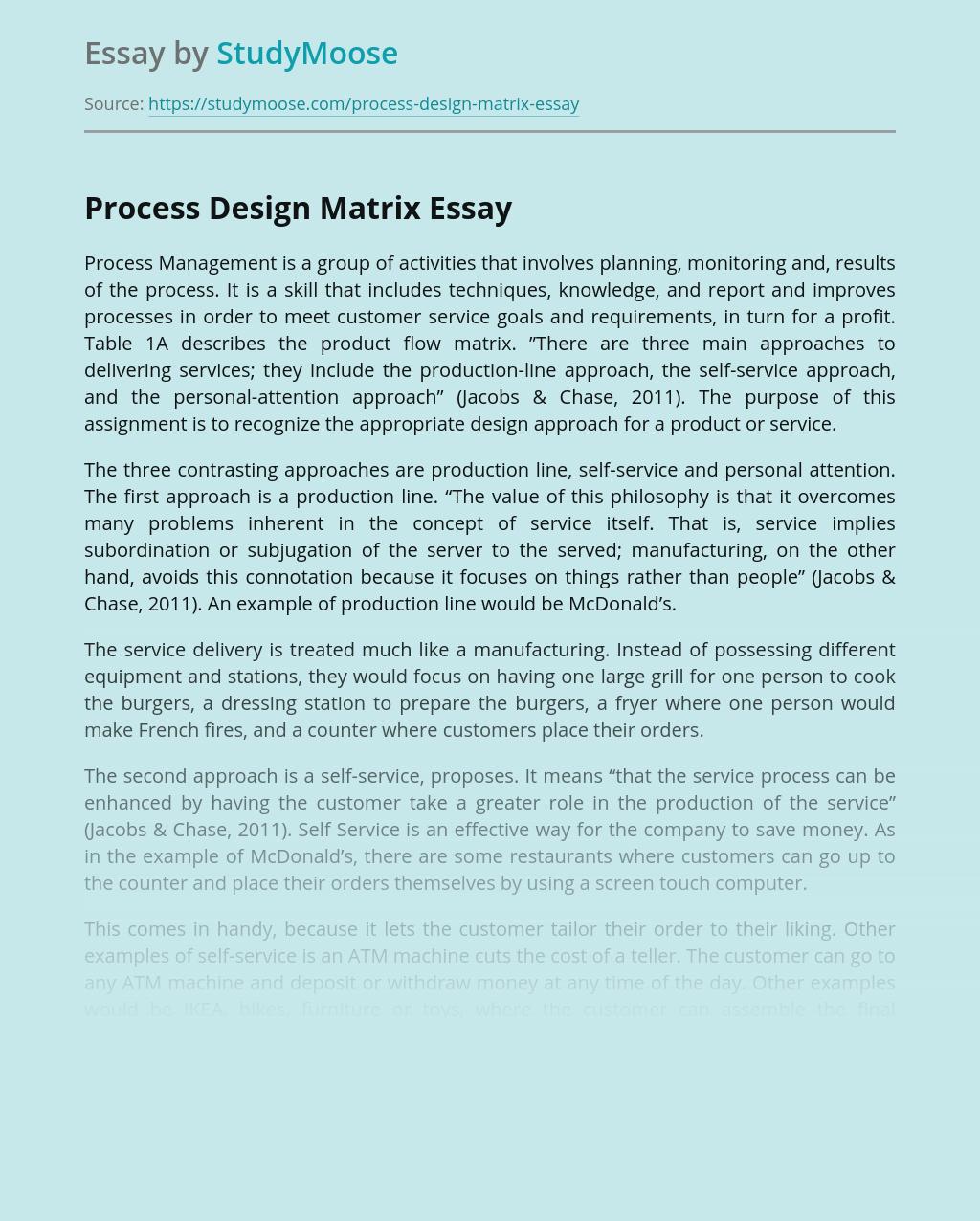 Process Design Matrix