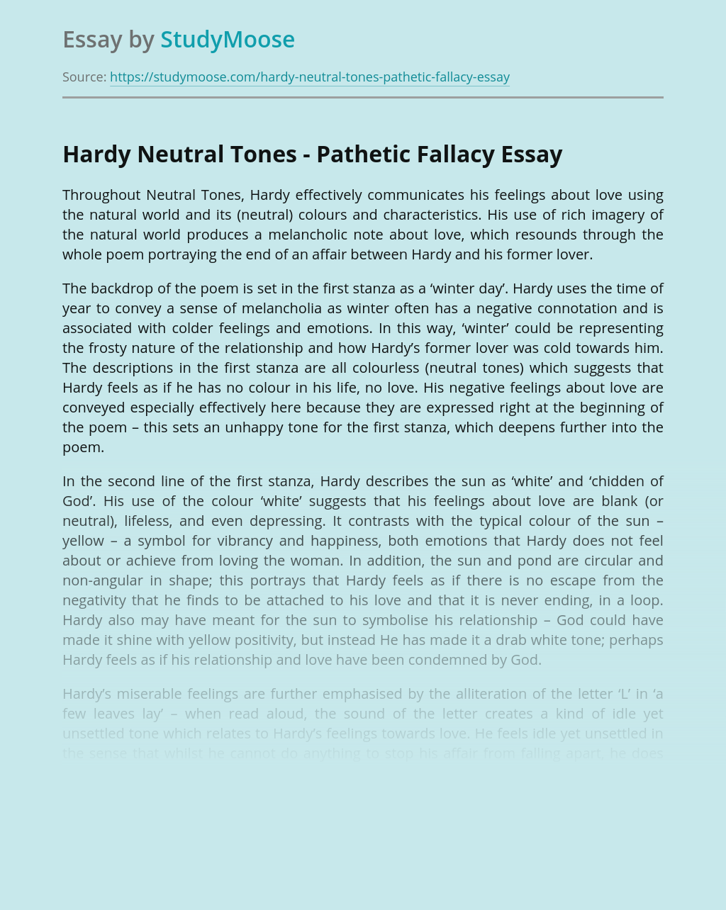 Hardy Neutral Tones - Pathetic Fallacy