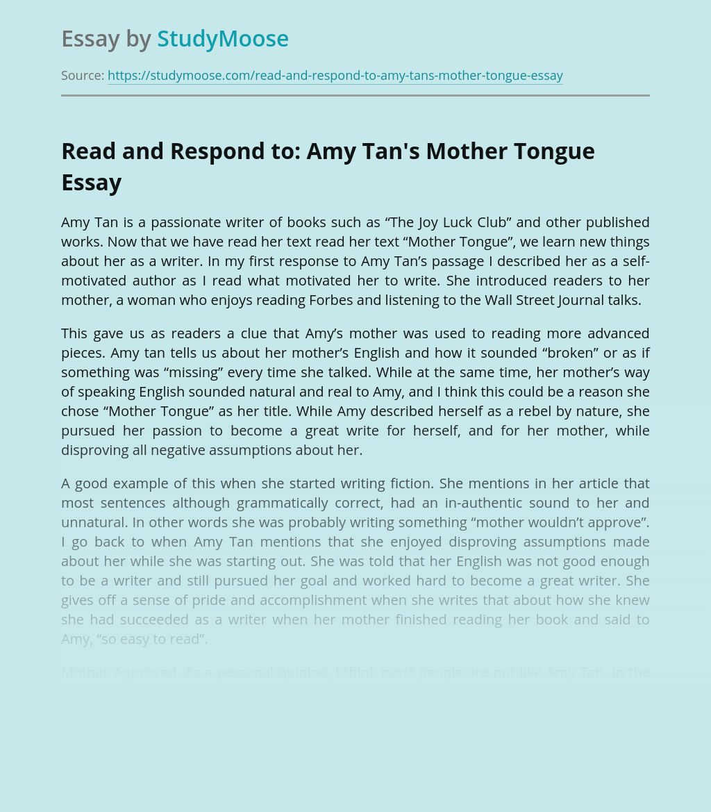 Read and Respond to: Amy Tan's Mother Tongue